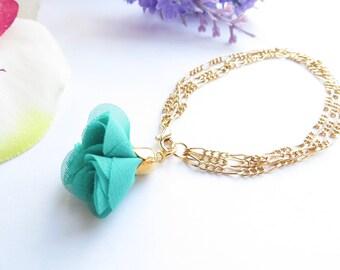 Teal Flower Bracelet In Gold, Turquoise Fabric Flower, Multi Chain Bracelet