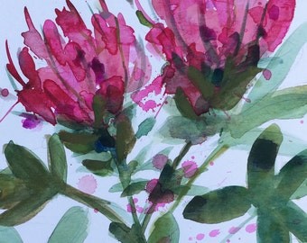 Cleome Original Floral Watercolor Painting by Angela Moulton 8 x 10 inch with 11 x 14 inch Mat
