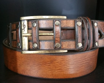 Brown Leather Belt, Designer Belt, Mens Belt, Buckle Belt, Steampunk Belt, handmade for Men