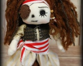 ReSeRved Raggedy Pirate Sparrow Annie- cute ooak primitive folk art home decor collectable  button eye