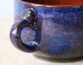 Cappuccino / wide latte style cup in Dark Sapphire Nebulae- ready to ship