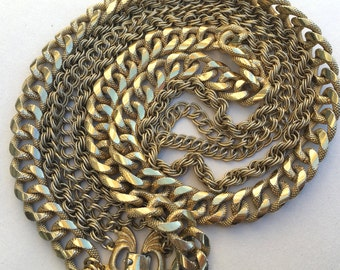 Vintage Triple Wide Gold Chain Necklace by Monet Layered Chains