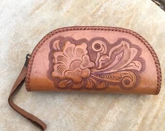 Vintage Western Tooled Leather Wristlet Purse