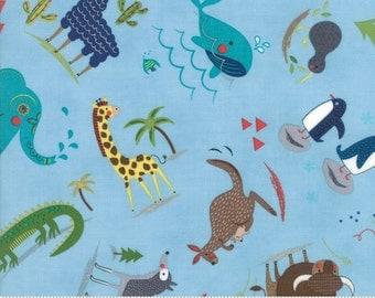 Hello World Wild Things Sky Blue Fabric - Moda 35301 17 - BTY One 1 Yard Cut - Childrens Novelty Fabric - Baby Quilt Fabric - Animals Fabric