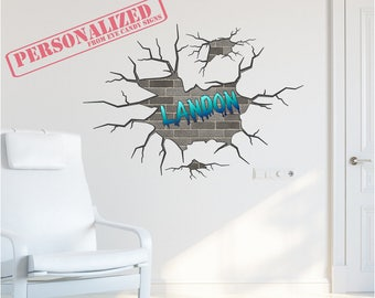Personalized Busted Brick Wall Decal Full Color Printed Wall Art Bedroom Sticker Decoration