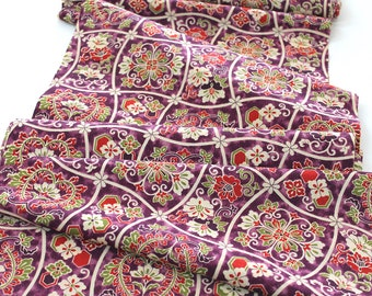 Vintage Japanese Kimono Fabric Purple beige Fortune Hexagon wool kimono fabric patchwork Camellia floral decor apparel quilting craft fabric