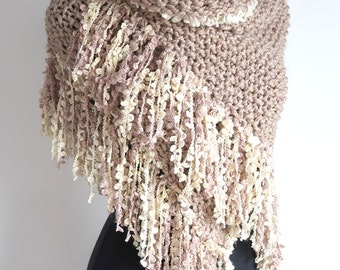 Wool Acrylic Yarn Light Taupe Beige Cocoa Color Textured Knitted Wrap Shawl Stole with Long Fringes