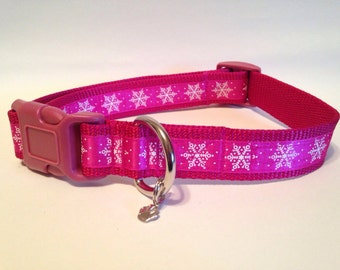 LARGE Pink snowflakes holiday dog collar