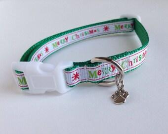 SMALL Merry Christmas Holiday Dog collar