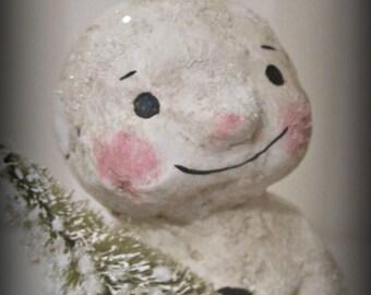 Paper mache Christmas Snowman  folk art OOAK
