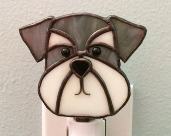 Stained Glass Dog Night Light Schnauzer