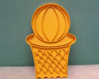 Basketball & Net Cookie Cutter ~ 1989 Wilton Cookie Mold ~ Outlined Detailed Sports Basketball and Hoop ~  Mint