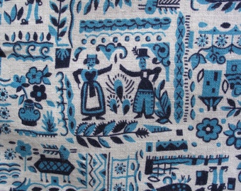 Dutch Print Feedsack Cloth