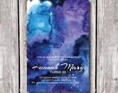 GALAXY INVITATION, Printable Stars invitation, Star party invitations, Universe Party, Watercolour, Watercolor, Birthday, Bday, Hens Night
