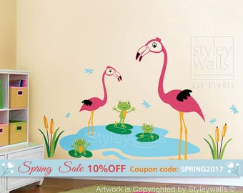 Flamingos Wall Decal, Flamingos Frogs and Dragonflies Wall Decal, Flamingos Froggies Dragonflies Nursery Sticker, Flamingos Bathroom Decal