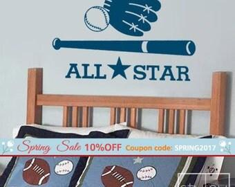 Baseball Wall Decal, Baseball Wall Sticker, Sports Wall Decal, All Star Baseball Sports Vinyl Wall Decal, Boys Room Sports Wall Decal