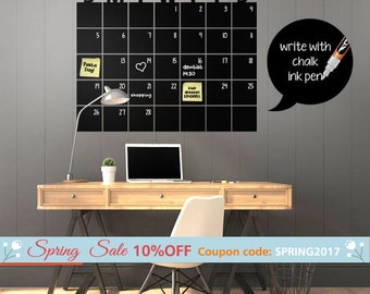 Chalkboard Calendar Wall Decal, Chalk Board Wall Calendar Vinyl Wall Decal Gift Chalkboard Decals Chalkboard Wall Calendar Stickers