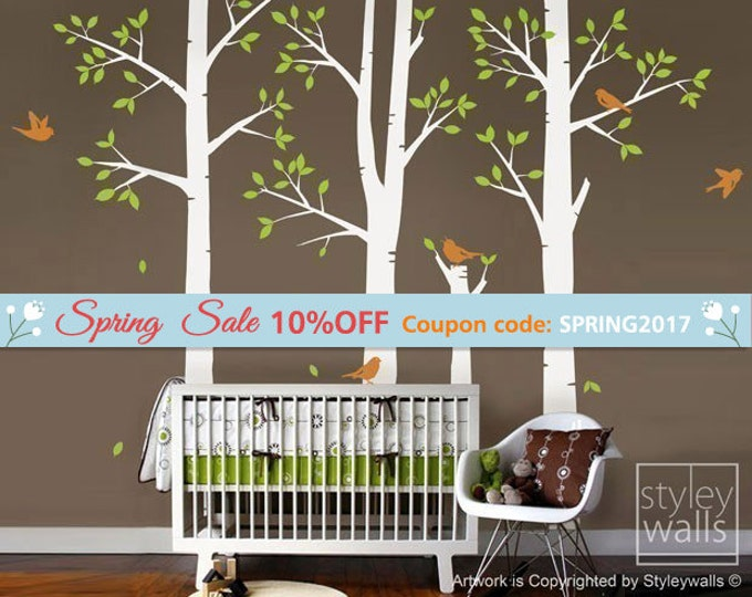 Trees and Birds Nursery Wall Decal, Birch Trees Wall Decal, Winter Trees Wall Decal Sticker, Forest Trees Sticker for Nursery Baby Kids Room
