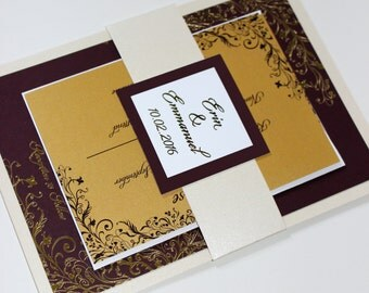 Wedding Invitation - Flourished Wine Red and Gold - Gold Foil Stamping - Customizable - DEPOSIT