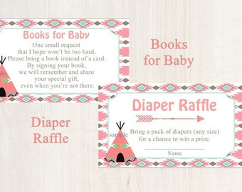 Baby Shower Diaper Raffle / Books for Baby / Aztec / Tribal / SET of 20