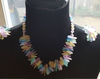 Vintage Multicolour Necklace and Matching Earrings