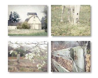 Country Decor, Farmhouse Decor, Rustic Home Decor, Set of 4 Rustic Prints, Rustic Country Landscape Prints, Farm Art Rustic Farmhouse Prints
