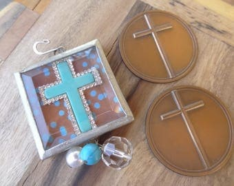 Handmade Large Soldered Glass Cross Finding with Vintage Copper Italy Cross Medallions. Vintage Supplies Assemblage, Upcycle, Craft. D138