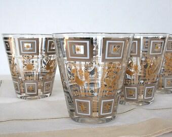 Mid century modern low ball glasses. Libbey glasses, gold glasses, black and white glasses, Christmas glasses, festive glasses, birds, fruit