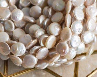 "White Coin Freshwater Pearls 14mm, Disk Shaped Keishi Pearl Beads (PL11-16)/ 15.5"" Full strand"