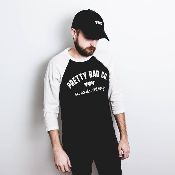 Pretty Bad Co St. Louis Misery Baseball Tee + Baseball Cap Combo Pack. Choice of Red or White Rose Dad Cap.