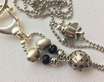 Airplane Lanyard Ball Chain ID Badge with Black and Silver Pandora style beads