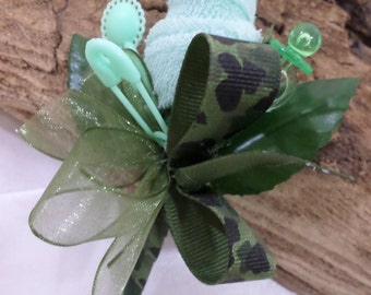 Camo Themed Baby Shower Boutonniere - Father-To-Be - Grandmother - Green Washcloth Flower