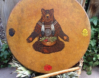 "HEALING DRUM Mama Bear Medicine - Native American style shamanic drum with signature totem & symbology artwork - 16"" diameter"