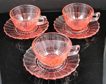 Lot of 3, Jeanette, Sierra aka Pinwheel, Pink Cup and Saucer Sets