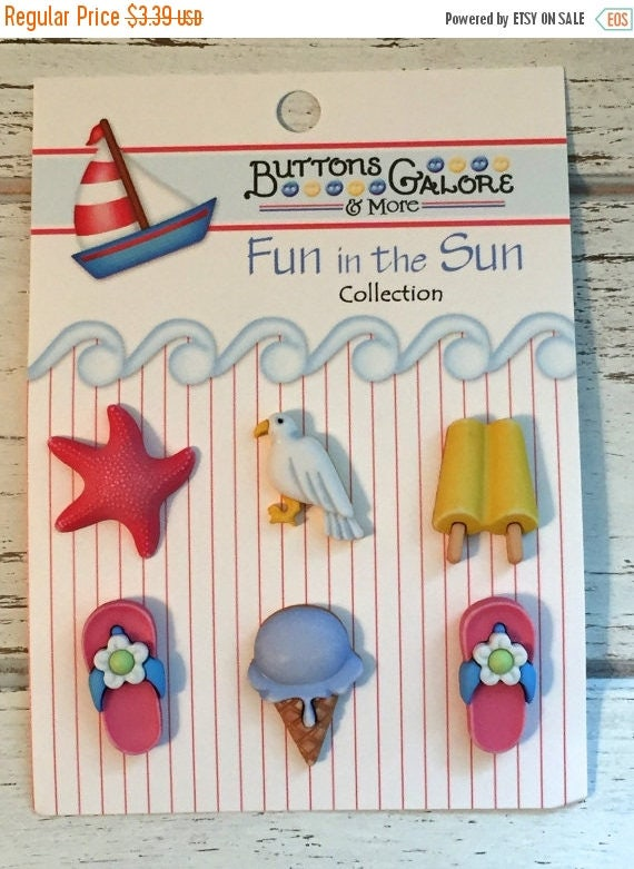 """SALE Beach Theme Buttons, Fun in the Sun """"Life's a Beach"""" by Buttons Galore, Carded Buttons, Set of 6, Flip Flops, Ice Cream, Starfish"""
