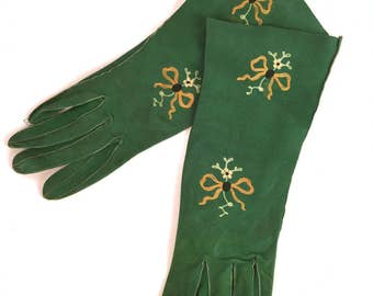 Vintage 30s Fabulous Green Suede Gloves, Yellow, White, Black, Embroidered Bows, Flowers, Suede Leather, Mid Length, Gauntlet, 6 1/2, France