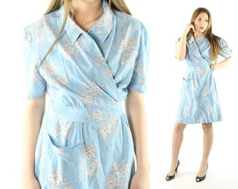 Vintage 50s Wrap Dress Short Sleeves Blue Daisy Print Collared Day Sundress 1950s Large L Kamore