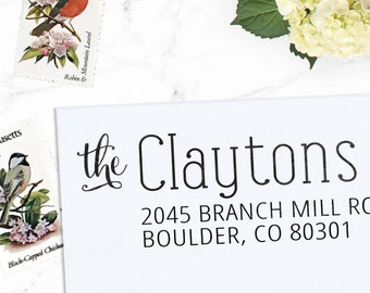 Custom Address Stamp, Return Address Stamp, Wedding address stamp, Calligraphy Address Stamp, Self inking or Eco mount stamp - Clayton