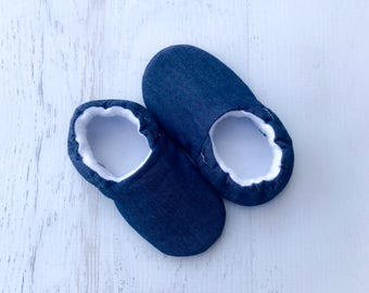 Baby Shoes, Toddler shoes, crib shoes, soft sole shoes, childrens boutique shoes, denim slippers, shower gift