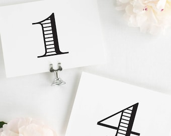 Antique Monogram Table Numbers - 4x6""