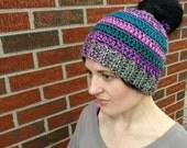 Crochet Women's Ponytail Hat, Ready to Ship, Handmade, Girl's beanie, Teen hat, Winter Wear, Accessory, Winter hat, Adult Cap, Messy bun Hat