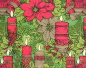Vintage Christmas Wrapping Paper - Poinsettias & Candles - Holiday Wrapping Paper