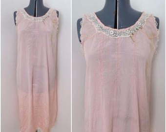 Antique Pink Silk Chemise with Lace Trim - 1910s 1920s Loose Fitting Slip Nightgown Lingerie