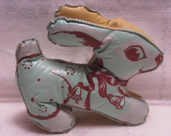 Vintage 50s Oil Cloth Bunny Stuffed Animal Green Brown Easter Nursery