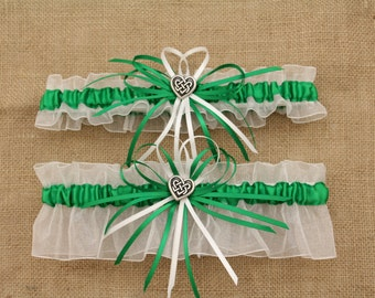 White and Green Wedding Garter Set with Celtic Heart Charms-(Your Choice, Single or Set)
