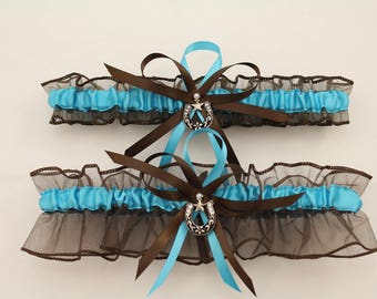 Brown and Turquoise Wedding Garter with Horseshoe Charms, Bridal Garter, Prom Garter  (Your Choice, Single or Set)