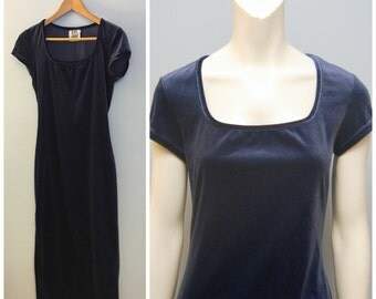 Vintage 1990's Full Floor Length Maxi Dress Cornflower Blue Velvet with Short Sleeve and Square Neckline Formal Evening Dress Gown Prom