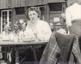 Woman Having Lunch at Ski Lodge in Yosemite CA Antique Vintage Photograph