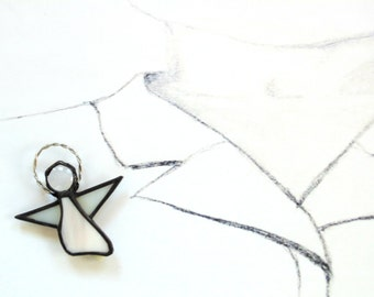 Angel brooch pin, lapel pin, stained glass jewelry, peach angel, pin back, angel on my shoulder, handmade angel, gift under 25, gift for mom