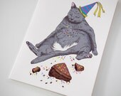SALE - Birthday Fat Cat greeting card - 50% off